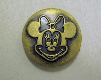 Minnie Mouse Clothing Button Antiqued Brass Colored Metal NBS Medium Collectible Disney