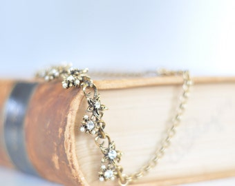 Vintage 1950s Flower Cluster Necklace // Glamour costume jewelry //  high fashion CZ
