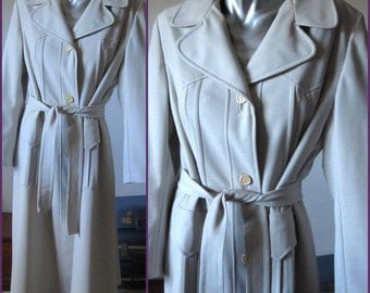 Vintage White Gray Knee Length Belted Spring Trench Jacket