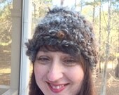 Thick Warm Hat Winter Cloche Black Brown Beanie Hand Spun Cap OOAK