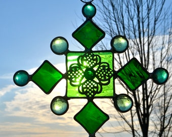 Burst of Green Means SPRING Stained Glass Suncatcher