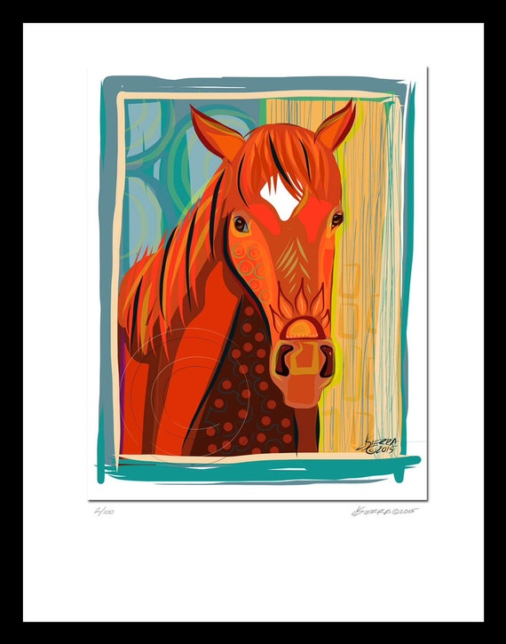 Ferdinand Racehorse Expressionist Modern Signed Giclee Print