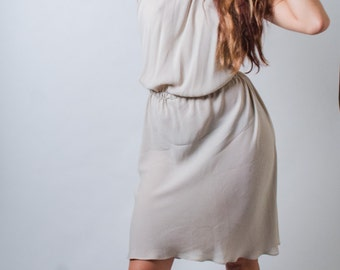 Vintage 90s Taupe Halter Dress Sz Small