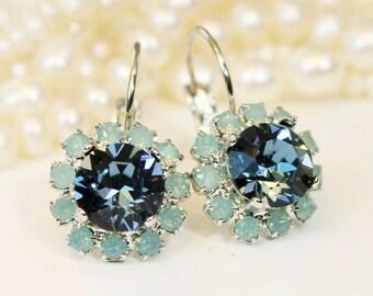 Mint Navy Earrings Blue Green Silver Swarovski Crystal Drop Halo Earrings Mint Bridesmaid Gift Green Wedding Gold finish,Denim Blue,SE96