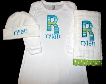 Custom Personalized Applique INITIAL and NAME Infant Gown, Burp Cloth, and Hat Set - Pop Stripe - Turquoise and Lime Green