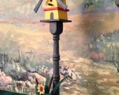 Unique Rustic Windmill Bird Bath on Post with Base for Dollhouse - 1/12 Scale Hand Crafted