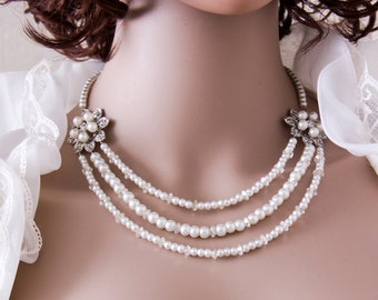 Pearl Wedding Necklace Bridal Jewelry Swarovski Pearl Necklace Wedding Jewelry 3 Strand Necklace Crystal Pearl Bridal Necklace