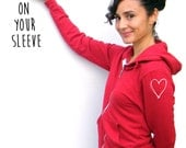 Heart On Your Sleeve Hoodie - American Apparel Unisex Hoody - XXS, XS, Small, Medium, Large, Extra Large, 2XL