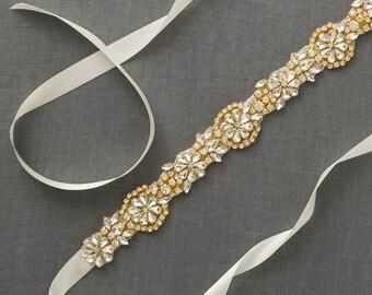 Gold Bridal Sash Belt | Rhinestone Wedding Belt | Gold Crystal Belt | Wedding Dress Sash | Gold Beaded Sash [Brontë Sash]