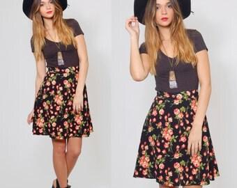 Vintage 90s FLORAL Mini Skirt Black REVIVAL Skirt Grunge Floral Mini Skirt with Red Roses Boho Skirt