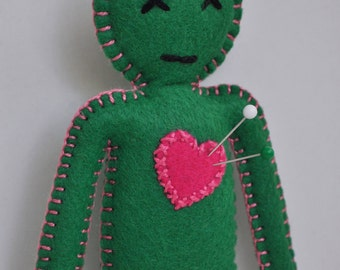 Voodoo Doll Breakup Doll - HibouDesigns - green and pink  - love spells and black magic - as Seen in Stuffed Magazine - hand sewn -OOAK