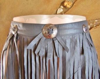 Fringe Leather skirt, Fringe skirt, Grey fringe skirt, slate grey skirt, Grey leather skirt, size S