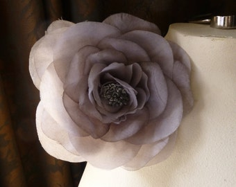 Gray Smoke Silk Rose Camellia for Bridal, Hats, Corsages MF 127