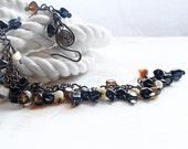 Black Agate Bracelet, Copper Wire Jewelry, Copper Bracelet, Rustic Jewellery, Oxidised Copper Cluster Bracelet, Cascade Bracelet