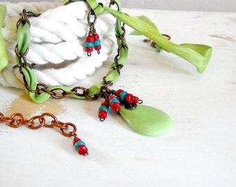 Lime Green Silk Ribbon Necklace with Copper Chain, Turquoise and Coral Statement Necklace, Gypsy Jewelry, Copper Wire Jewelry, Boho Necklace