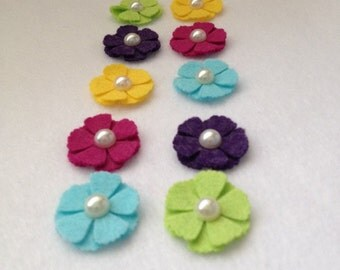 10 Wool Felt Flowers with Flat Pearl   (Summer Colors )