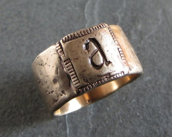 Unisex initial ring // bronze ring / custom initial ring / personalized ring / rustic monogram ring / mens initial ring / monogram jewelry