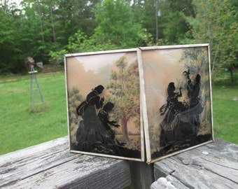 1930's Colonial Couple Silhouette Reverse Painted Convex Glass Pictures--Shabby--Vintage Wall Art--Collectible