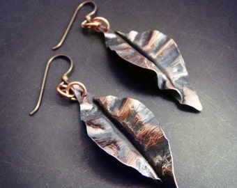 Fold Formed Leaf Earrings in Copper, Bronze, or Sterling Silver