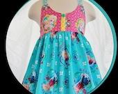 Girls Frozen Spring-Summer Dress- (New Fabric)  Ready to Ship  Girls size 6yr