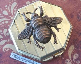 Gold Compact Mirror Case Brass Bee Mirror Art Deco Octagon Shaped Gothic Victorian Steampunk Mirror Compact Case Huge Bee Big Bee Large Bee