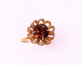 vtg Sarah Coventry ring gold flower rhinestone mid century MOD 1960s 1970s cocktail modernist statement gift birthday wedding prom party