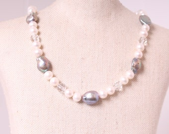 vintage genuine Baroque PEARL & rock crystal gemstone necklace wedding bridal prom party gift