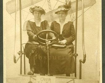 Women in Flying Machine Surreal 1910s Arcade RPPC