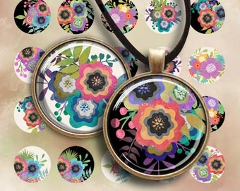 30 mm LITTLE GARDEN CIRCLES - Printable digital images for round pendants, bezel trays, glass cabochon mountings, cameo settings, Art Cult