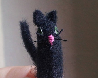 Tiny Black Cat - now with whiskers! - miniature felt feline for dollhouse or display