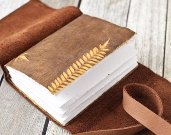 Tan Leather Journal - Rustic Travel Diary and Sketchbook