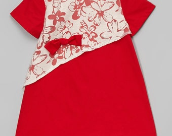 Red Cotton Poplin Holiday girls dress
