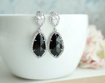 Black Onyx Glass Teardrop LUX Rhodium Plated Cubic Zirconia Long Dangle Earring. Black and Cubic Glass Jewel Evening Bridal Wedding Jewelry