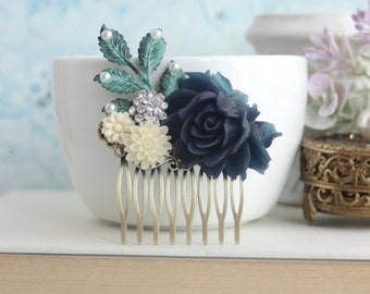 Dark Blue Floral Comb Bridal Comb Navy Blue Wedding Comb Blue Ivory Rhinestone Comb Rustic Flower Hair Comb Bridesmaid Gifts Bridal Gifts