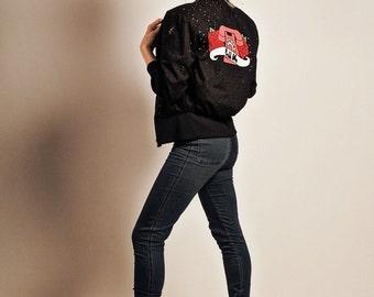 Black Bomber Jacket, Tattoo Style Jacket, Retro Style Jacket, Zip Front Jacket, Jacket with Motif Back, Embroidered Jacket, Size S