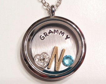 GRAMMY - Floating Charm Locket - Living Locket - Memory Locket - Custom Hand Stamped Gift for Mom
