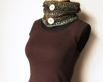 Art Cowl Crochet Silk Wool Hand dyed Subtle Forest Tones Green Brown