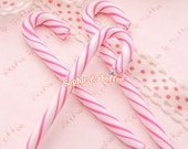 Fake Candy Canes | Candy Canes Wholesale | Candy Canes Bulk | Kawaii Polymer Clay Charms - 6pcs