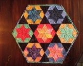 Quilted Table Decor Wall Hanging Hexagon Pleiades Batik