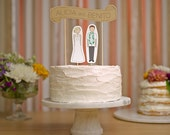 Wedding Cake Topper Set - Custom Cake Banner Kraft / Bride and/or Groom Cake Toppers