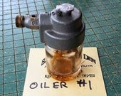 old Glass Jar Lubricator, Wick Feed Oiler, bearing bottle oiler, machine tools, electric motors, man cave garage, gas station racer