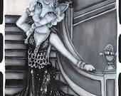 Roaring 20s Flapper Cat, Silver Screen, Film Goddess Cat 8x10 Fine Art Print