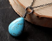 Turquoise Howlite Necklace, Oxidized Sterling Silver - Robin's Egg by CircesHouse on Etsy