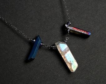 Titanium Druzy Necklace, Angel Aura Quartz, Iolite, Oxidized Sterling Silver - Queen Circe by CircesHouse on Etsy