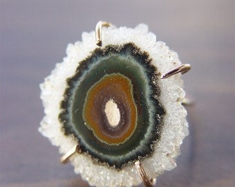 ON SALE Green Stalactite Gold Ring - One of a Kind, Crystal Ring