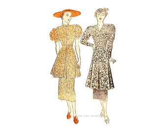 Vintage 1930s Sewing Pattern, New York 671, Womens Tunic Blouse & Straight Skirt, Bust 32, Afternoon Tea Dress, Town and Country