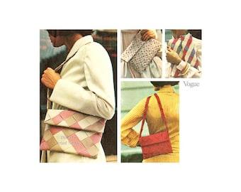 70s Envelope Purse Pattern Vogue 8834, Snap Closing, Shoulder Bag, Clutch Purse, Handbags, Woven Ribbon Purses One Size, Vintage, Uncut