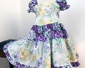Girls Easter Dress Purple Teal Lavender Girls Dress Girls Ruffled Twirl Dress Lily Girl Clothes Size 2T 3T 4 5 6  Cotton Childrens Clothing