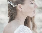 Wedding  Hair Comb, Wedding Hair Accessory,Pearl  Hair Comb, Wedding Hair Piece ,Ivory Freshwater Pearl Hair Comb, White Opal Swarovski Comb