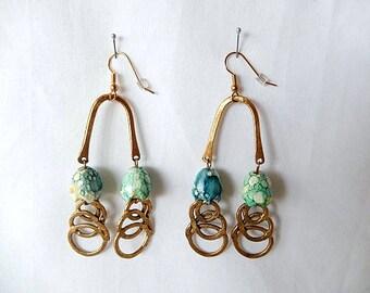 vintage handmade earrings, 1990, made of all vintage components, aqua beads, bronze metal, vintage jewelry